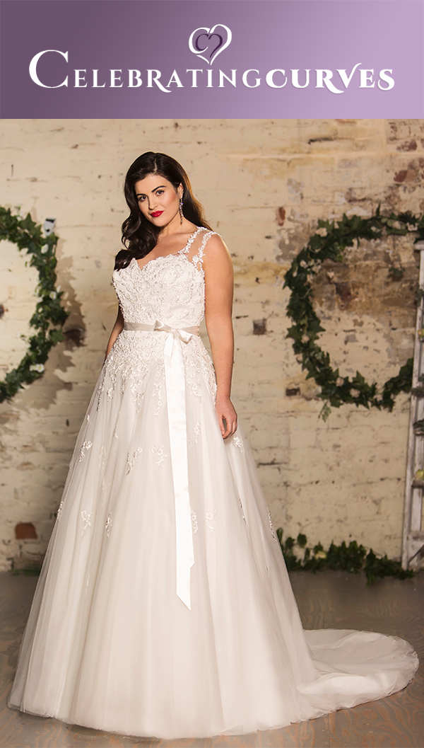 7264bcee8e1 Over lace over the shimmer tulle – A-line dress. Sweetheart main neckline  with illusion straps in V-shape. Full A-line skirt decorated with lace  scallop on ...